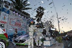 Podium: Giandomenico Basso, Mitia Dotta (Peugeot 207 #2, Movisport), race winner, Esapekka Lappi, Janne Ferm (Skoda Fabia S2000 #6, Skoda Motorsport), 2nd position and, Alessandro Perico, Fabrizio Carrara (Peugeot 207 S2000 #10, Pa Racing Srl), 3rd position, ITALIAN RALLY CHAMPIONSHIP