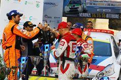 Podio: Paolo Andreucci, Anna Andreussi (Peugeot 208 T16 R R5 #2), Simone Campedelli, Danilo Fappani (Ford Fiesta GPL R R5 #4, Orange 1 Racing), Giandomenico Basso, Lorenzo Granai (Ford Fiesta R R5 #1, Movisport), ITALIAN RALLY CHAMPIONSHIP